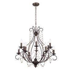 Angelina Bronze Twelve-Light Chandelier