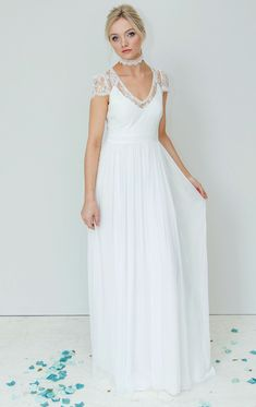 Boho floaty wedding dress simple modern and relaxed unstructured wedding dress The Bridget design Floaty Wedding Dress, Bohemian Style Wedding Dresses, Boho, Formal Dresses, Simple, Modern, Design, Fashion, Dresses For Formal