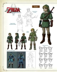 Legend of Zelda Hyrule Historia pages Concept art for Oracle of Seasons and Ages and Twilight princess for those of you who want the whole thing, here's a link:. The Legend Of Zelda, Character Design Cartoon, Character Design Inspiration, Character Sheet, Character Concept, Character Ideas, Ghibli, Link Twilight Princess, Princess Zelda