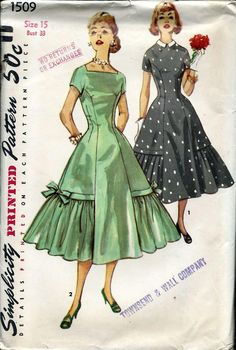 Pretty Party Cocktail Dress Pattern SIMPLICITY 1509 Princess Line Dress Detachable Collar Flounced Full Skirt Bust 34 Vintage Sewing Pattern-Authentic vintage sewing patterns: This is a fabulous original dress making pattern, not a copy. 1950s Dress Patterns, Evening Dress Patterns, Vintage Sewing Patterns, Clothing Patterns, Skirt Patterns, Coat Patterns, Pattern Dress, Jacket Pattern, Blouse Patterns