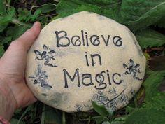 Believe in magic garden art whimsical words for the by Poemstones, $22.00
