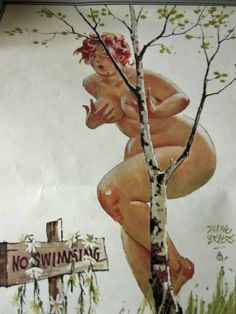 """Hilda's daisy bikini has come off -- hmm. hanging over the """"NO SWIMMING"""" sign -- Hilda is hiding behind a twig of a birch tree. Arte Pin Up, Pin Up Art, Pin Up Vintage, Curvy Pin Up, You Go Girl, Calendar Girls, Illustration, Big And Beautiful, Real Women"""