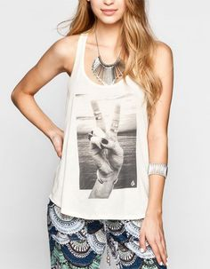 Volcom Peace Back Womens Tank Cream In Sizes from Tilly's. Spring Summer Fashion, Spring Outfits, Spring Clothes, Cool Outfits, Casual Outfits, Casual Clothes, Teen Fashion, Fashion Outfits, Dress To Impress
