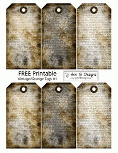 J Ann B Designs: Vintage/Grunge Tags 1 - FREE Printable