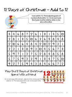 12 Days of Christmas - Math Puzzle or Game - Christmas Math, Games, Puzzles and Brain Teasers is a collection from Games 4 Learning. It is loaded with Christmas math fun. $