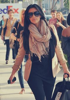 Black & Neutrals with Scarf. Chic