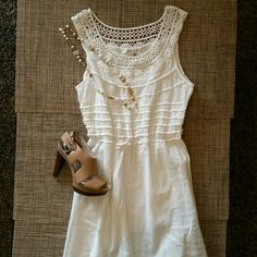 """Dress NEW NEW no tags, super cute summer dress, with gorgeous detail on the shoulders and chest, light cream color, completely lined, 100% cotton, very comfortable little dress to wear, length  from shoulder to hem 37"""", wide from armpit to armpit 17""""  laying flat, waist laying flat also 13"""" and stretches to 17"""" approximately, hips 21"""" laying flat. Tag says size LARGE, but it runs small, I would say is more like a size MEDIUM, or size 4-6 Max Studio Dresses"""