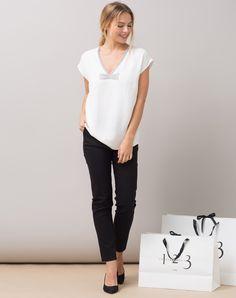 1.2.3 Paris - Les looks automne-hiver 2015 - Top écru à strass Jenny 75€ #123paris #mode #fashion #shopping #strass #glitter #brillance #white #blanc #noeud #bow #chic #elegance