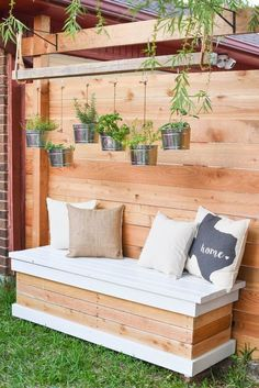Outdoor Storage Bench - DIY Backyard Box with Hidden Storage - Our Handmade LifeBuild your own DIY outdoor storage bank. This backyard storage solution has room for children's toys, lawn games, grilling utensils and much Storage Bench Seating, Bench With Storage, Hidden Storage, Wood Storage, Outside Storage Bench, Storage Ideas, Deck Storage, Bike Storage, Small Storage