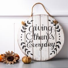 The round sign and the square sign are printed with beautiful plants, which is sure to bring an extra natural flair to this season. The hand-painted lends an appealing visual style to the rectangle wall sign. Thanksgiving Crafts, Thanksgiving Decorations, Fall Crafts, Thanksgiving 2020, Christmas Decorations, Diy Crafts, Wood Wall Decor, Wooden Wall Art, Wood Vinyl