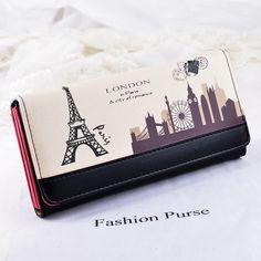 Women Leather Wallets Eiffel Tower Purse