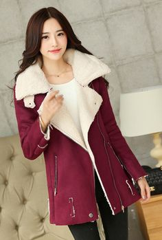 Moto Chick Oversized Shearling Suede Jacket in Burgundy | Sincerely Sweet Boutique