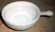 Vintage Bowl GlasBake Soup Bowl Grey Handle Milk by TheBackShak, $6.00