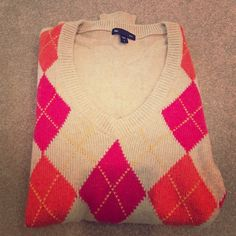GAP Sweater Adorable tan Gap sweater with pink and orange diamonds! NEVER worn! Perfect condition! New without tags! GAP Sweaters V-Necks