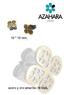 Pendientes de acero y oro amarillo con motivo de flor o trébol de cuatro hojas de la marca Azahara Joya con sistema de presión.