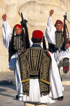 ~Guards at the Tomb of the Unknown Soldier, Athens~  #greece #athens #tomb