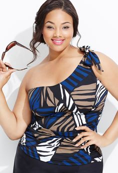 Plus Size Mixed Stripe One Shoulder Swim Top | Plus Size Swim & Resort | Avenue