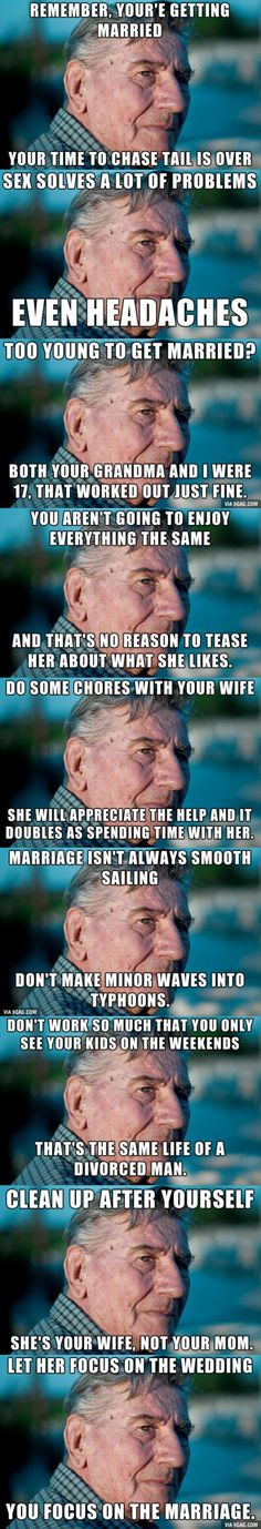 Best Marriage Advice. I liked the one about not making waves into typhoons.