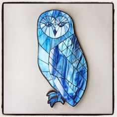 "Ice Princess by Kasia Polkowska, stained glass mosaic owl, 17.5"" x 8.5"" silhouette 2015"