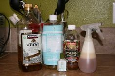 """Homemade Shampoo:  1 C Dr. Bronner's organic castile liquid soap (like Baby Mild) - 2 Tbs. apple cider vinegar - 3/4 Tbs. tea tree & Vit. E oil (or just one oil only, etc.) -  1/4 c. water - 1 (16 oz) spray bottle or other container for application. Mix & spray to use.  LOTS of other """"recipes"""" at this site for natural everyday stuff"""