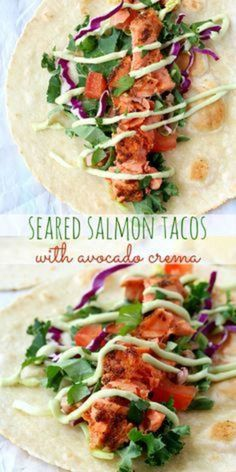 These seared salmon tacos are so easy and bursting with flavor- the perfect twist on the original fish taco recipe! These seared salmon tacos are so easy and bursting with flavor- the perfect twist on the original fish taco recipe! Salmon Recipes, Fish Recipes, Seafood Recipes, Mexican Food Recipes, Dinner Recipes, Cooking Recipes, Healthy Recipes, Crockpot Recipes, Fish Dishes