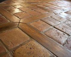 Antique Reclaimed French Terracotta Oak Floor Inlay - mediterranean - kitchen - charlotte - by Vintage Elements LLC Wood Tile Floors, Brick Flooring, Kitchen Flooring, Kitchen Tile, Kitchen Brick, Mediterranean Kitchen, Mediterranean Design, Wood Floor Design, Tile Design