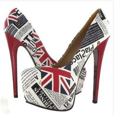 The UK News Shoes From Legend Footwear are Decorated By Historical Headlines #british #royalty trendhunter.com