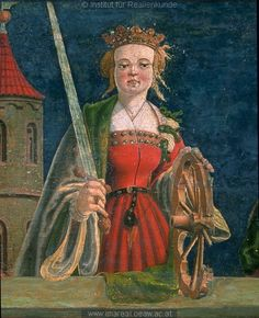beginning of the 16th century (1500-1510) Austria altar painting in Filialkirche in Möderndorf, Austria- Catherine of Alexandria http://tethys.imareal.oeaw.ac.at/realonline/ no. 001765