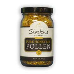 Bee Pollen can be hard to find. Stockin's Apiaries from Strasburg PA offer this 5 oz. jar via Swiss Villa.