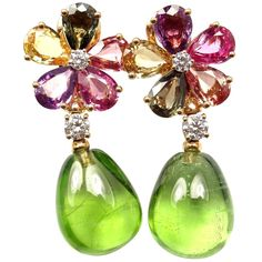 Bulgari Multicolor Sapphire Peridot Diamond Gold Flower Drop Earrings | From a unique collection of vintage drop earrings at https://www.1stdibs.com/jewelry/earrings/drop-earrings/