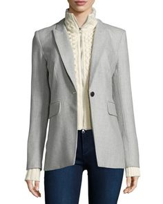 Long & Lean Jacket with Upstate Knit Dickey, Gray/Ivory by Veronica Beard at Neiman Marcus.