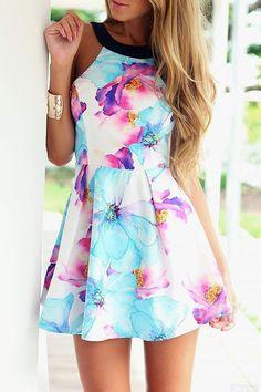 Floral Halter Mini Skater Dress