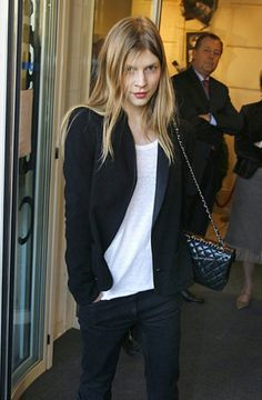 clemence poesy - blazer, chanel quilted bag, slouchy tee