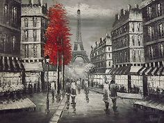 Paris black & white red tree oil painting canvas France art cityscape original