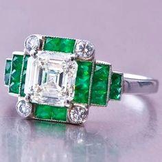 Dover Art Deco Emerald and Diamond Ring