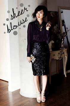 black sequin pencil skirt outfit ideas