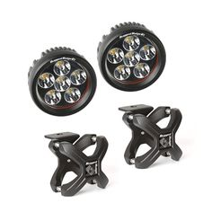 Large X-Clamp and Round LED Kit, Textured Black, Pair by Rugged Ridge