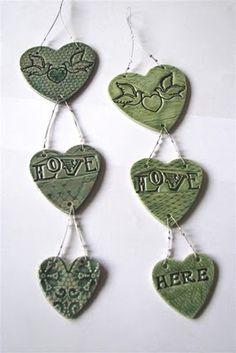 ceramic hanging hearts
