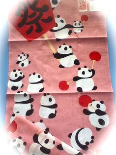 panda Festival tenugui  panda japanes Bandana  祭=Festival