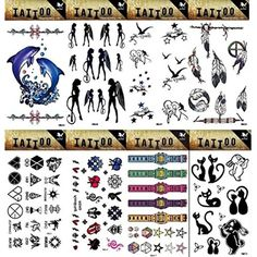 Wonbeauty 8pcs different Fake and real temp tattoo stickers in a package, it including birds,dolphins,feathers,angels,totem,watch,stars and cut cat tattoo stickers ** See this great product. (This is an affiliate link and I receive a commission for the sales) #Makeup
