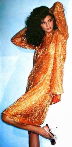 Joan Severance in a gold sequin dress from Halston, Burda International Fall/Winter 1981