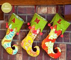 Holiday Elf Stockings with Curlicue Toes   Sew4Home