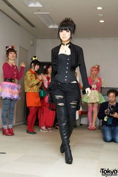 """March 2012: Waseda University's """"Gothic & Lolita & Punk no kai"""" club sponsored an event titled """"Will Fashion Change the World?""""; Featured styles: Lolita, Gothic, Punk, and Kawaii Harajuku"""