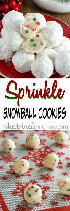 Sprinkle Snowball Cookies Recipe allergy friendly recipe with NO NUTS ~ In Katrina's Kitchen Cookie Desserts, Holiday Desserts, Holiday Baking, Holiday Treats, Holiday Recipes, Christmas Recipes, Holiday Foods, Christmas Ideas, Cookie Recipes