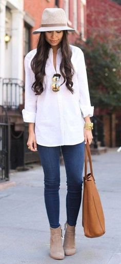 White Blouse // Skinny Jeans // Suede Ankle Boots Source