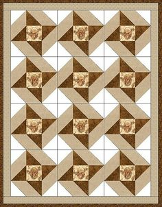 Deer Cameo Star Pre-Cut Quilt Blocks Kit by Prime Quilts Shop