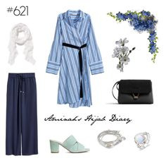"""#621 Blue Stripes"" by aminahs-hijab-diary ❤ liked on Polyvore featuring MANGO, H&M, Old Navy and Lizzy James"