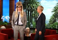"Ellen DeGeneres gave ""The Amazing Spider-Man"" star Andrew Garfield an unusual gift when he stopped by her talk show on Tuesday – a wild wig and fake mustache so he can go to the opening of the film incognito. During the interview, Garfield also revealed he went au naturel under the costume. ""That must make you feel so vulnerable because you would feel naked. Did you feel naked?"" Ellen asked. Andrew's response? ""Yeah. It's the worst."""