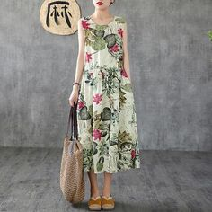 Find casual loose cotton linen clothes, shop high quality plus size pants, loose long linen maxi dresses, fashion loose sweaters, jumpsuits from buykud.com. Long Sleeve Floral Dress, Midi Dress With Sleeves, Maxi Robes, Maxi Dresses, Plus Size Summer, Floral Print Skirt, Pinafore Dress, Casual Summer Dresses, Retro Dress