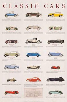 Duesenberg, Cadillac, Mercedes-Bez - A beautiful poster of classic cars from an era when automobiles were works of art! Fully licensed. Ships fast. 24x36 inches